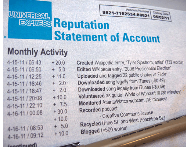 "What would a ""trust"" credit statement look like? Image via Trust Labs Indiegogo campaign."