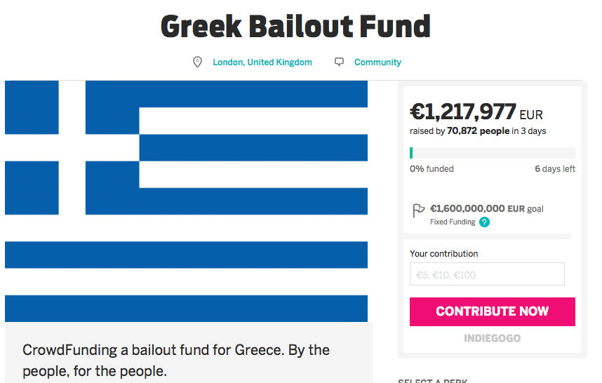 Greek Bailout on Indiegogo